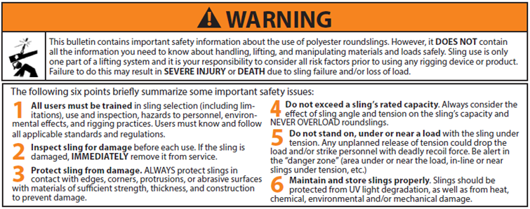 Polyester Roundslings Use and Care Warning