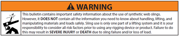 Synthetic Web Sling Use and Care Warning