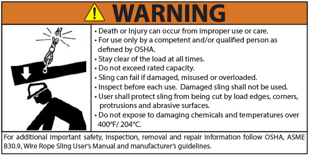 Wire Rope Warning